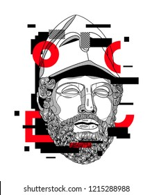 Oсt.29, 2018: Vector illustration hand drawn. Pericles with the Corinthian Helmet. Glitch.