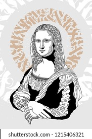 Oсt.29, 2018: Vector illustration hand drawn. Mona Lisa by Leonardo da Vinci. Calligraphy portrait.