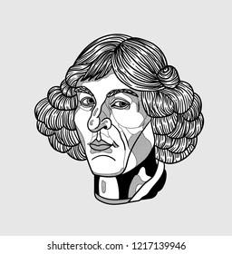 Oсt.31, 2018: Vector illustration hand drawn. Nicolaus Copernicus.