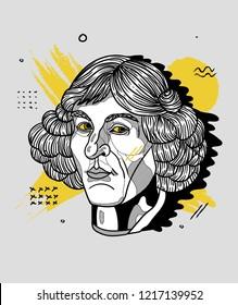 Oсt.31, 2018: Vector illustration hand drawn. Nicolaus Copernicus. Creative portrait.