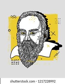 Oсt.31, 2018: Vector illustration hand drawn. Galileo Galilei. Creative portrait.