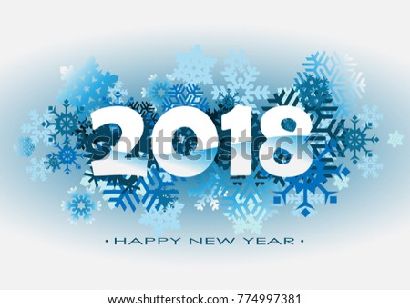 2018 vector illustration of snow happy new year 2018 theme