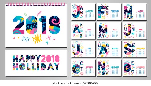 2018 Wall Monthly Calendar template. Horizontal monthly calendar template. White background. Weeks start on sunday. Hand drawn vector elements, lettering.