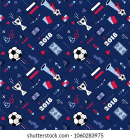 2018 world championship cup abstract background in 80s memphis style. Seamless memphis pattern for posers and cards. Colors of russian national flag. Vector illustration