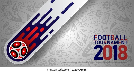 2018 world championship football cup on white background. Poster soccer template