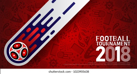 2018 world championship football cup on red background. Poster soccer template