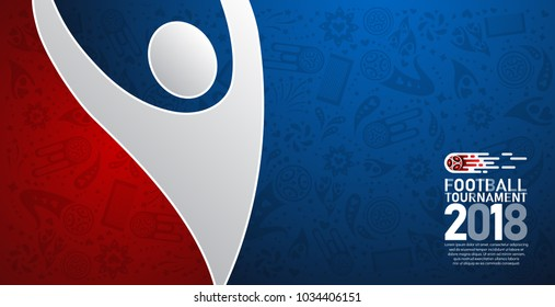 2018 world championship football cup on red and blue abstract background. banner soccer template. Vector Illustration