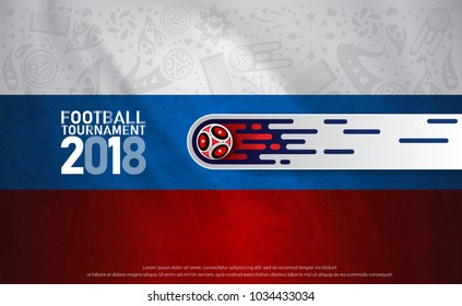 2018 world championship football cup on flag abstract background. banner soccer template. Vector Illustration