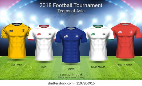 2018 World championship football cup, National teams of Asia concept, Soccer jersey mock-up, Sport t-shirt design kit and uniform templates for Australia, Iran, Japan, Saudi Arabia, South Korea.