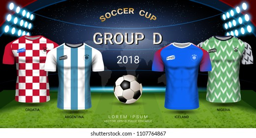 2018 World championship football cup, National team soccer jersey group D, Sport t-shirt design kit and uniform templates for Croatia, Argentina, Iceland, Nigeria (EPS10 vector fully editable)