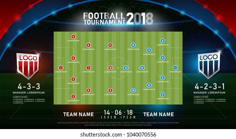 2018 world championship football on stadium  background. soccer scoreboard match vs strategy substitutes broadcast graphic template