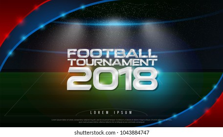 2018 world championship football tournament cup logo on stadium background. soccer logo broadcast graphic template. vector illustration