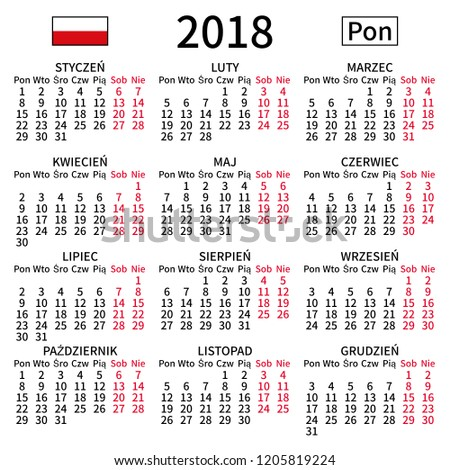 2018 Year Calendar Simple Clear And Big Polish Language Week Starts On