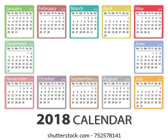 2018 year calendar week starts on monday monthly calendar template printable calendar