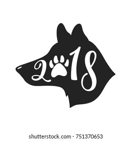 2018 - Year of the Dog. Chinese sign of zodiac. Hand drawn typography design. Calligraphy holiday inscription in shape of dog's head.
