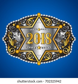 2018 year western cowboy belt buckle with sheriff badge vector design