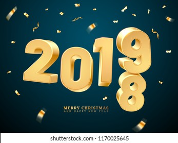 2018-2019 change represents the new year and merry christmas. Happy holiday and x-mas eve celebration, greeting postcard or december poster. Holiday decoration or celebration invitation card