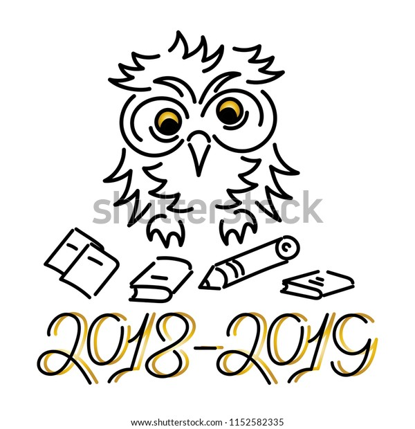 20182019 Cute Owl School Supplies Hand Stock Vector (Royalty