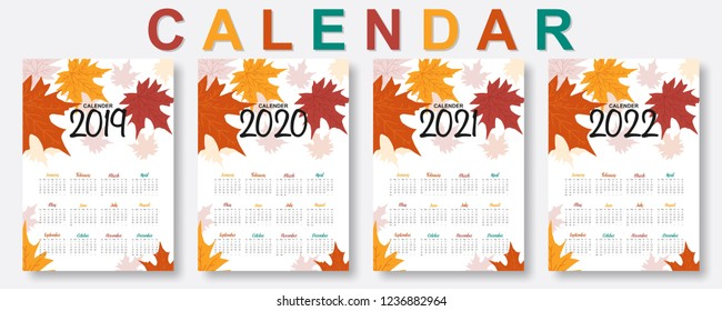 2019, 2020, 2021, 2022 calendar. Happy new year. Set of 12 Months. Week start on Sunday. falling colorful autumn maple leaves background in flat style. Holiday event planner. Design template