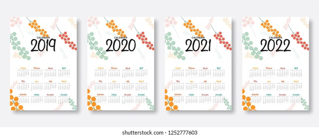 2019, 2020, 2021, 2022 calendar. Happy new year. Set of 12 Months. Week start on Sunday. falling colorful cherry fruit illustration background in flat style. Holiday event planner. Design template