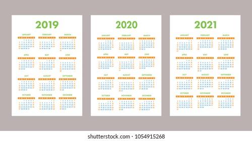 2019, 2020, 2021 calendar set. Color, pocket. Week starts on Sunday