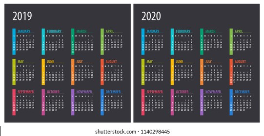 2019 2020 Calendar - illustration. Template. Mock up Week starts Sunday