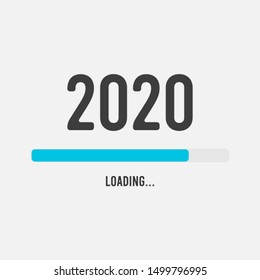 2019 to 2020 loading bar - 2020 Happy New Year Background - Vector