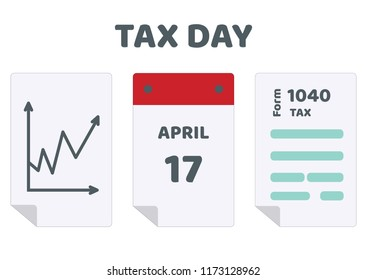 2019, 2020 Tax Day reminder calendar, finance diagram and 1040 income tax form. Tax Day on April 17. Vector illustration of deadline for Federal income tax returns, 1040 form in the USA.