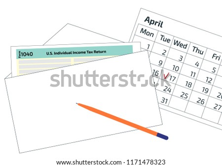 2019 2020 tax form 1040 in the envelope a pen and a calendar