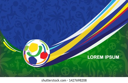 2019 Abstract green Brazilian Summer Game Competition background. World of Brasil pattern dinamic shapes and traditional elements. Kids Camp Sports Championship Conmeball Copa America São Paulo Rio De