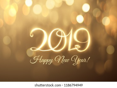 2019 abstract holiday new year background with written light trace text. Vector eps10.