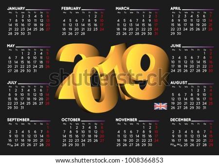 2019 Black Calendar English Uk Year Stock Vector Royalty Free