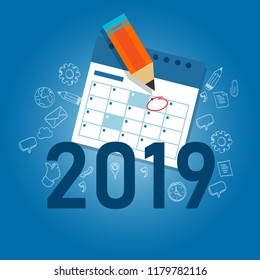 2019 business calendar writing work target with pencil. schedule new year agenda. Vector.