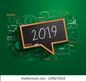 2019 business success strategy plan idea on speech bubbles blackboard, Creative thinking drawing charts and graphs, Inspiration concept modern template layout, diagram, Vector illustration