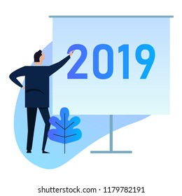 2019 Businessman standing doing presentation on new year target future vision for company. vector