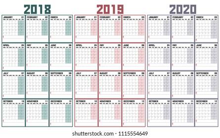 2019 calendar, calendar 2018, calendar 2020, abstract composition, vector illustration