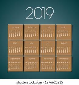 2019 calendar. Brown texture