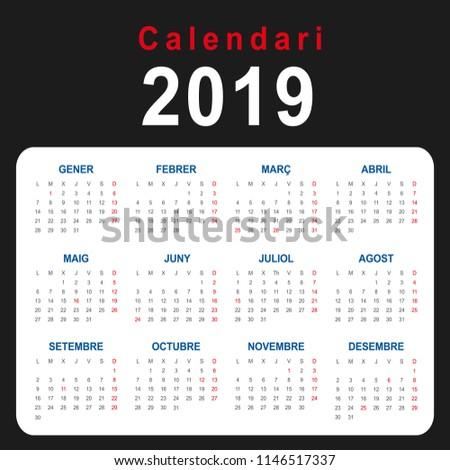 2019 Calendar Business Cards Catalan Stock Vector Royalty Free