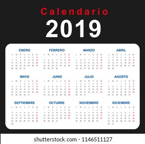 2019 calendar business cards spanish stock vector royalty free
