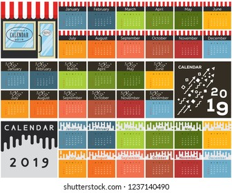 2019 calendar collection. Cover and months