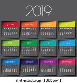2019 calendar. Color post it