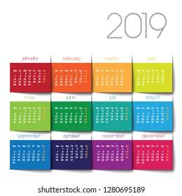 2019 calendar. Color squares 3d