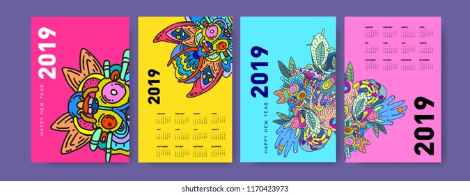 2019 calendar design template with ethnic colorful doodle illustration background