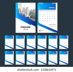 2019 Calendar. Desk Calendar modern design template with place for photo. Week starts Sunday. A5 or A4 paper size. Vector illustration.