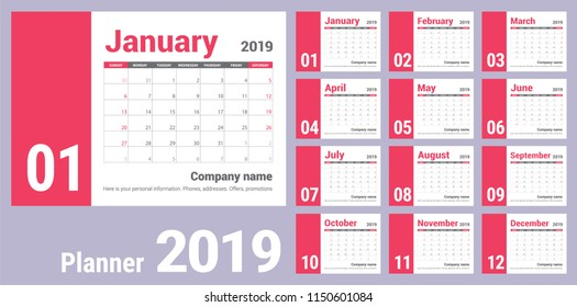2019 calendar. English calender. Сolor vector template. Week starts on Sunday. Business planning. New year planner. Clean minimal table. Simple design