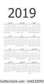 2019 calendar grid. White, pocket. Week starts on Monday