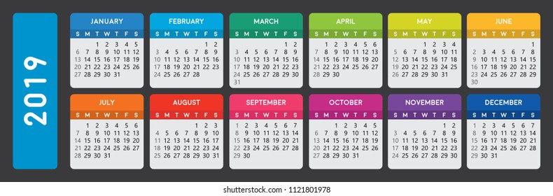 2019 calendar. Horizontal calendar template on dark background. Editable vector file available. English and sunday to monday version.