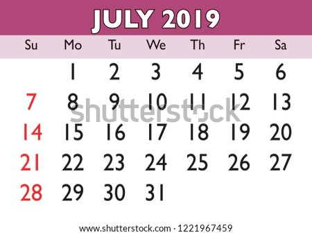2019 Calendar July Month Vector Printable Stock Vector Royalty Free