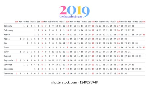 2019 calendar vector stationery 2019 year stock vector royalty free