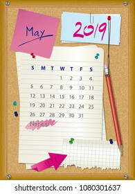 2019 calendar - month May - cork board with notes - week starts on Sunday